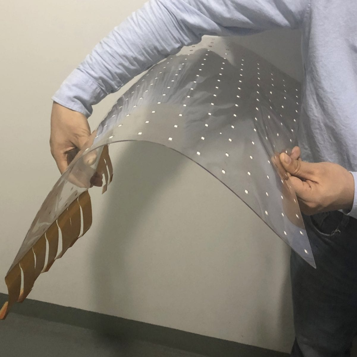 invisible adhesive glass curve Transparent led film