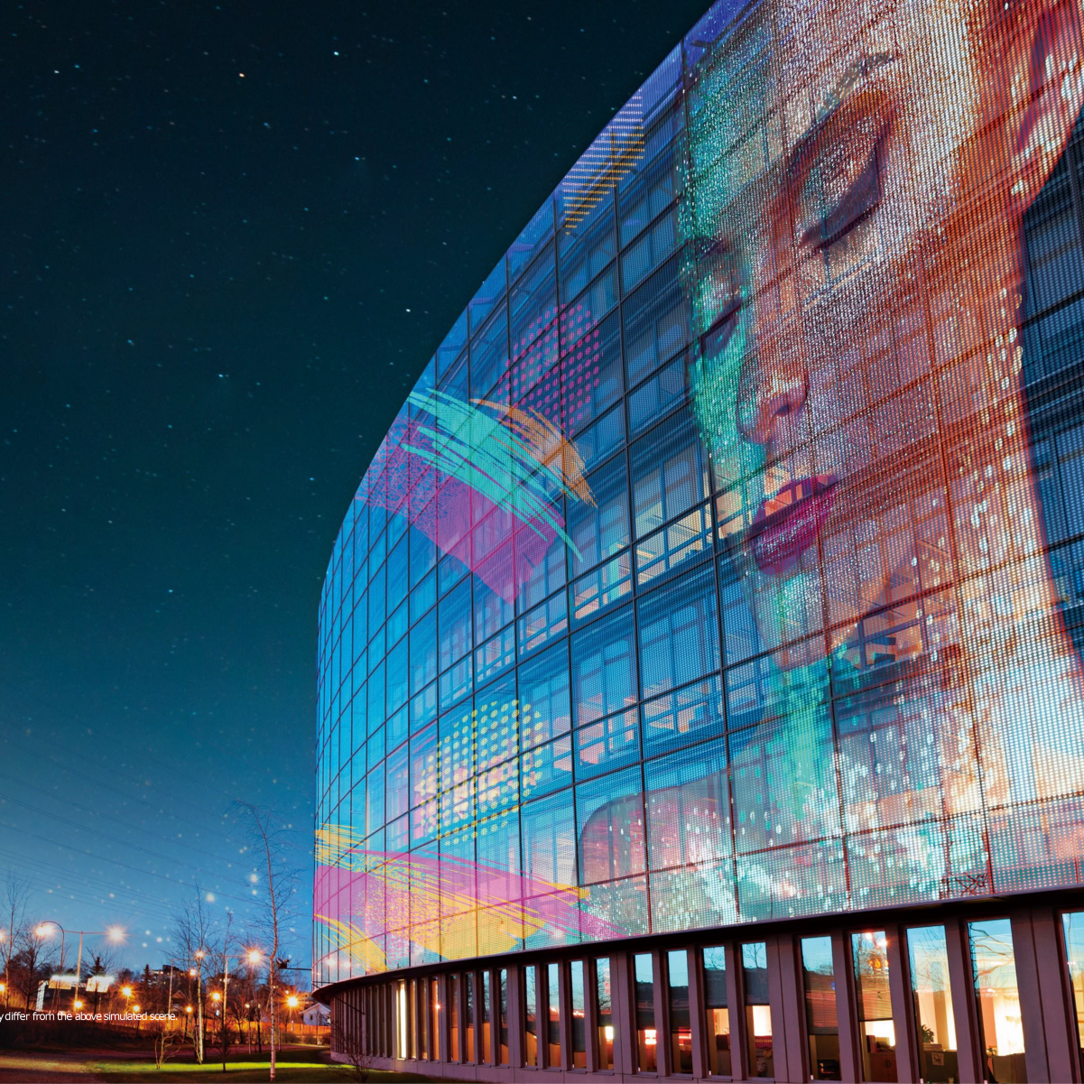 Bâtiment de façade transparent LED films