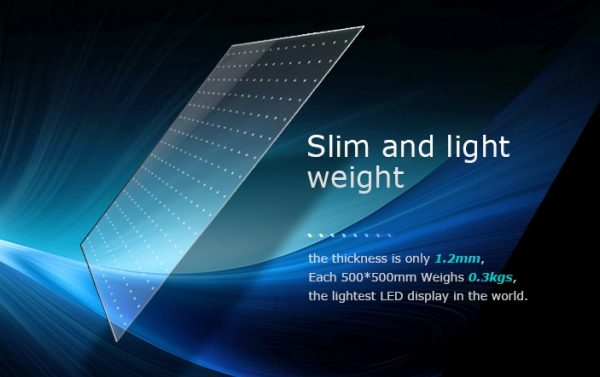 slim & light weight stickit transparent LED film