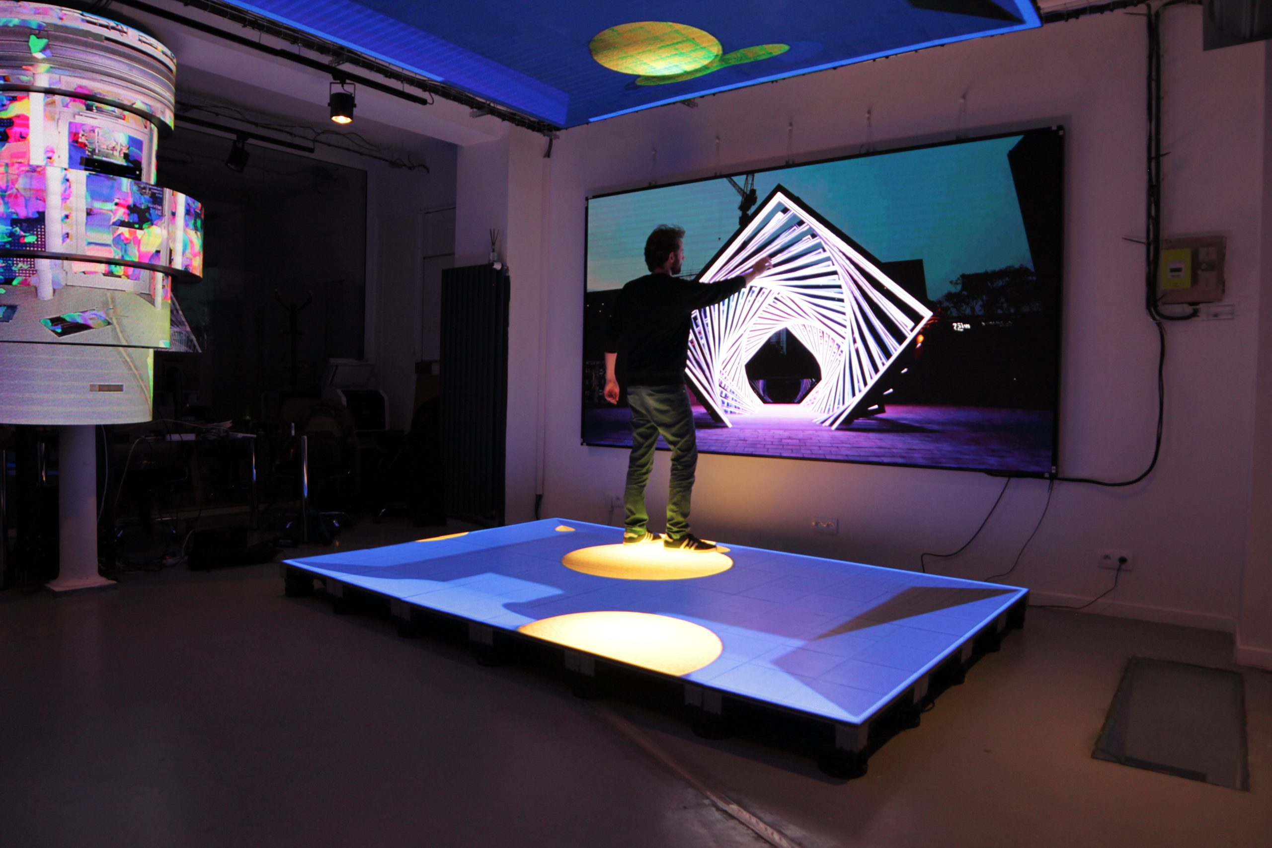 LED flood and touch interactive screen and floor