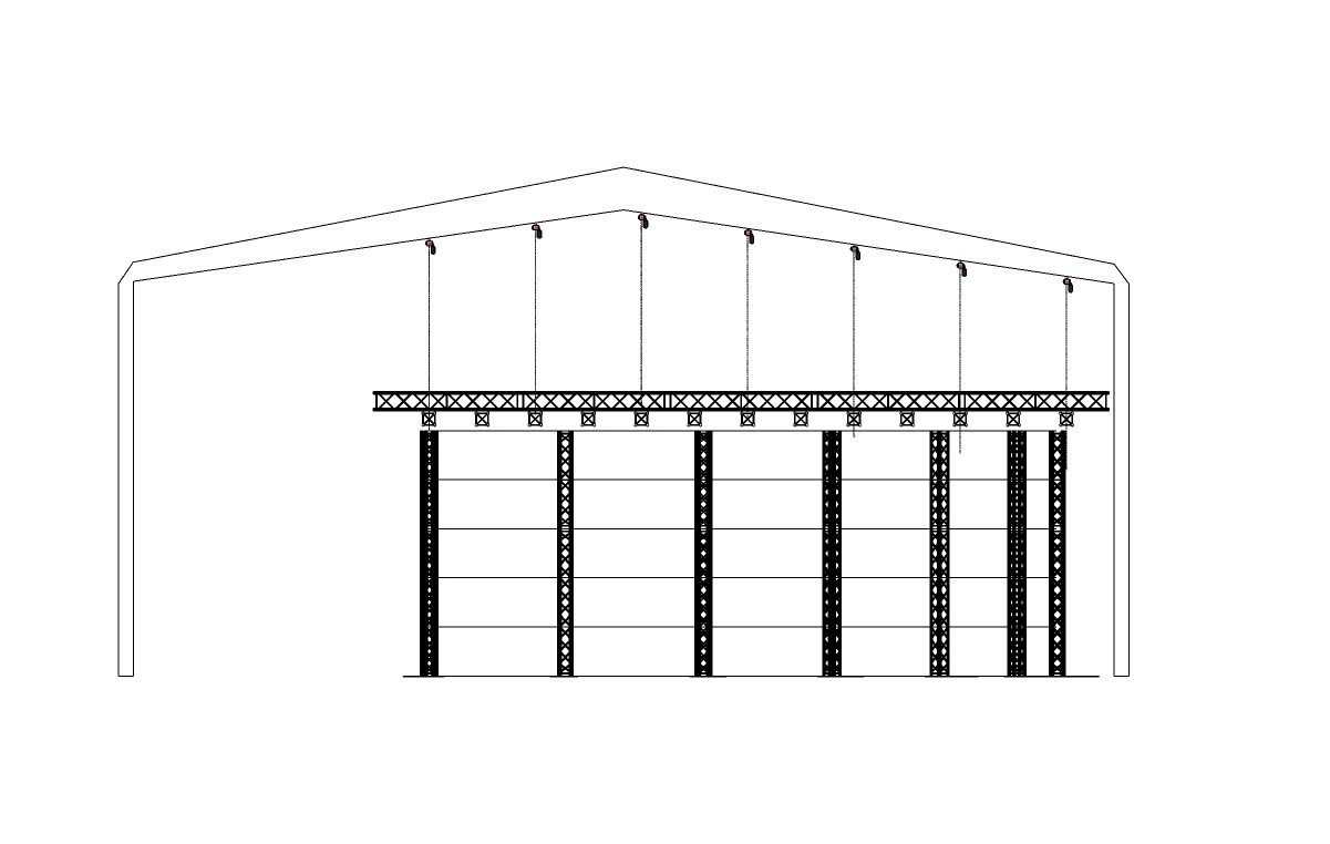 Virtual production XR studio support structure for LED screen display High deinition 4