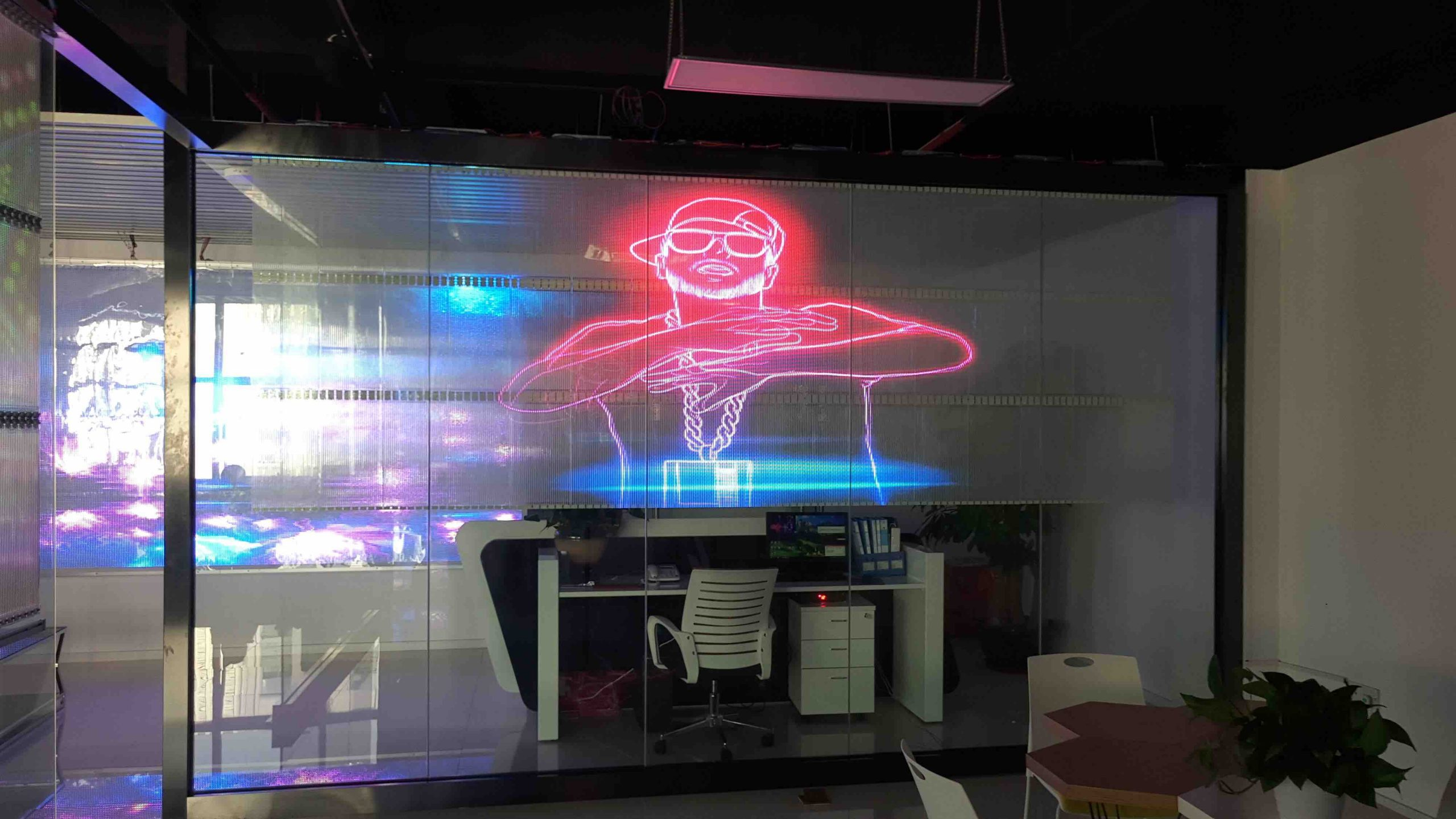 Adhesif transparent LED facade window building wall indoor to stick on windows glass screen (1)