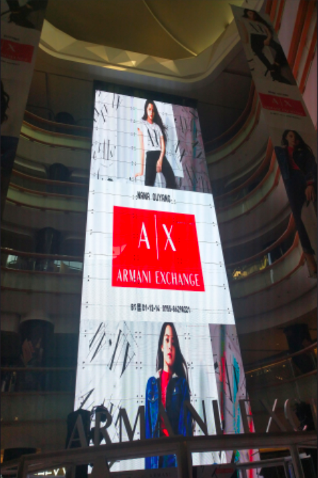 high Led screen with ads displayed on Shenzhen Yitian Holiday Plaza