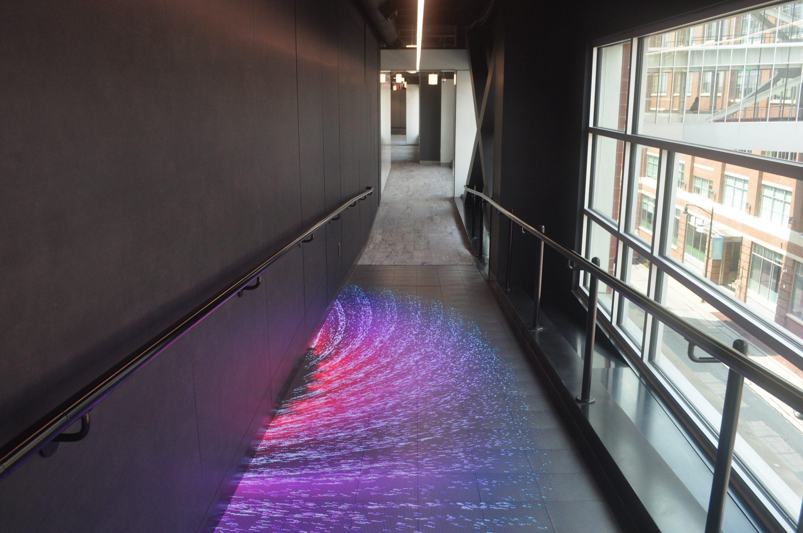 led floor walnut capital purple effect