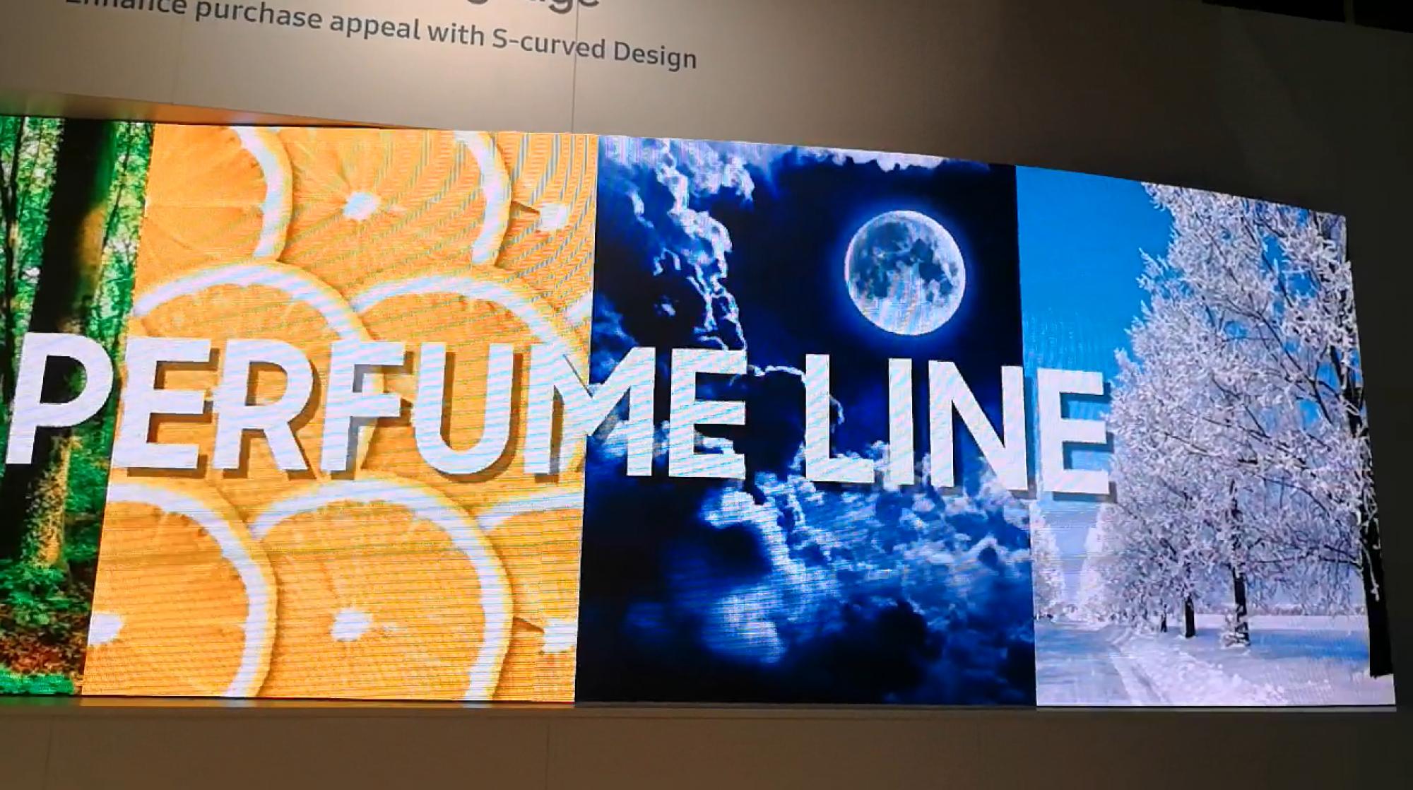 Screen LED curved display perfume line