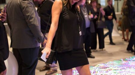 Led floor interactive display woman smiling