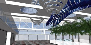 Side view of the third 3D proposal, Flexible LED strips on ceiling
